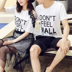 Evolu Fashion - Couple Matching Set : Letter Short-Sleeve T-shirt + Shorts / Skirt