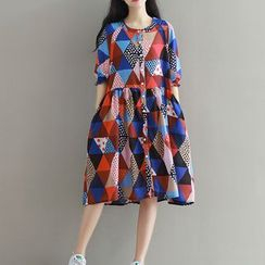 Clover Dream - Patterned Button Down Elbow Sleeve Dress