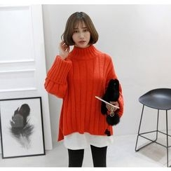Miamasvin - Mock-Neck Wool Blend Rib-Knit Sweater