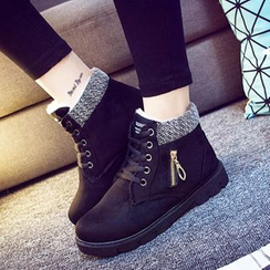 Solejoy - Knit-Panel Lace-Up Ankle Boots