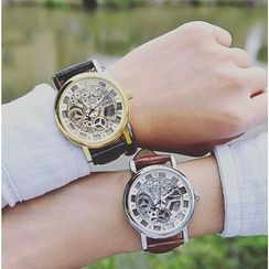 Crocosmia - Clear Couple Matching Strap Watch