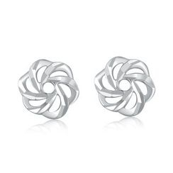 MaBelle - 14K/585 White Gold Diamond Cut Flower Stud Earrings