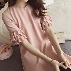 Jolly Club - Frilled Sleeve Shift Dress