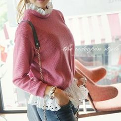 REDOPIN - Eyelet-Lace Trim Sweater