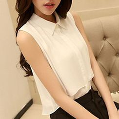 Rocho - Sleeveless Layered Chiffon Shirt