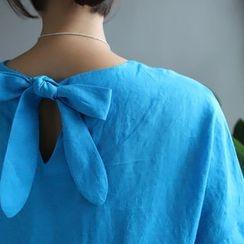 STYLEBYYAM - Linen Bow-Back A-Line Dress
