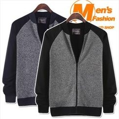 WIZIKOREA - Raglan-Sleeve Knit-Panel Baseball Jacket