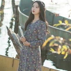 Sens Collection - Floral Print Long Sleeve Chiffon Dress