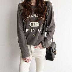 NIPONJJUYA - Raglan-Sleeve Lettering Cotton T-Shirt