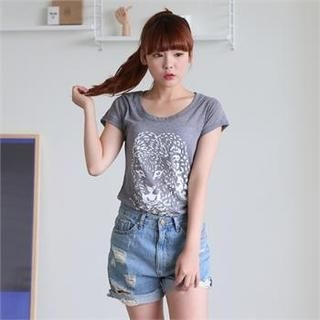 Cocopop - Tiger Printed Cotton T-Shirt