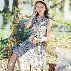 Sens Collection - Set: Floral Print Tank Top + A-Line Skirt