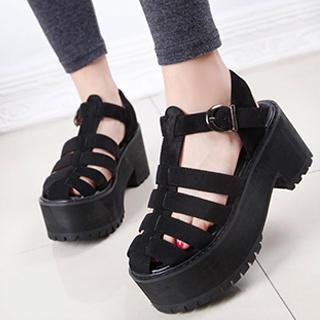PLATFORM CHUNKY-HEEL STRAPPY SANDALS on The Hunt