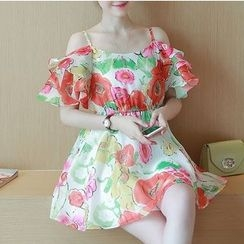 Dowisi - Floral Print Cold Shoulder A-Line Chiffon Dress