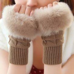 Pompabee - Furry Trim Knit Fingerless Gloves