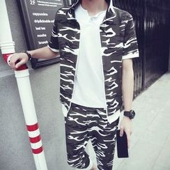 Danjieshi - Set: Short-Sleeve Camouflage Jacket + Sweat Shorts