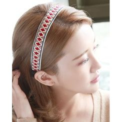 Miss21 Korea - Pattern Embroidered Hair Band