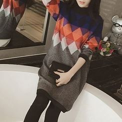 Fashion Street - Diamond Pattern Knit Tunic