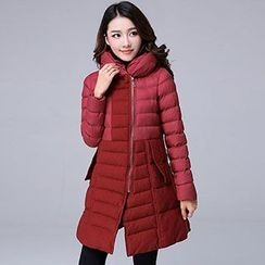 Romantica - Hooded Zip Puffer Wool Coat
