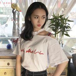 November Rain - Cutout Shoulder Embroidered T-Shirt