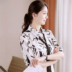 Attrangs - Tie-Front Patterned Chiffon Blouse
