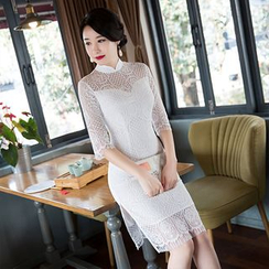 Janelle Qipao - Elbow-Sleeved Lace Qipao