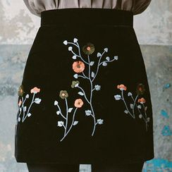 chuu - Flower-Embroidered A-Line Mini Skirt