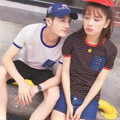 Evolu Fashion - Couple Matching Short-Sleeve Striped T-Shirt