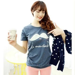 Dodostyle - Short-Sleeved Distressed Mustache Print T-Shirt
