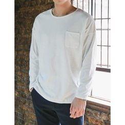 STYLEMAN - Round-Neck Pocket-Trim T-Shirt