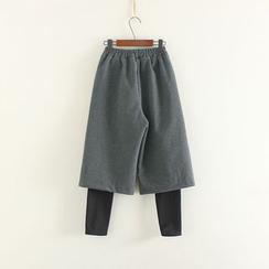 Mushi - Inset Cropped Wide Leg Pants Fleece Lined Leggings