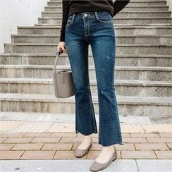 JOAMOM - Washed Boot-Cut Jeans