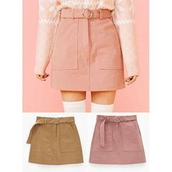 icecream12 - Belted A-Line Mini Skirt
