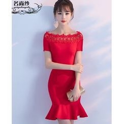 MSSBridal - Crochet Trim Flounced-Hem Short-Sleeve Cocktail Dress