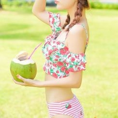 Seabird - Set: Floral Print Cropped Tankini Top + Fruit Print Swim Bottom + Swim Skirt