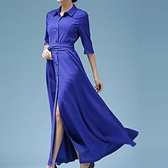 Rebecca - 3/4 Sleeve Maxi Shirtdress