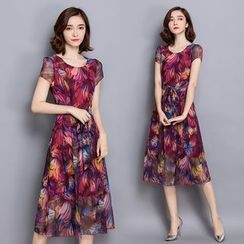 Hummingbird - Floral Print Short Sleeve Midi Chiffon Dress
