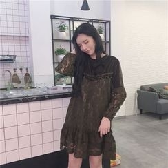 Jolly Club - Long-Sleeve Lace Panel Dress