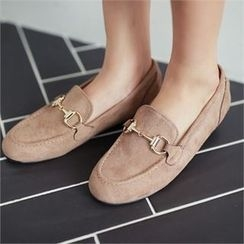 Styleberry - Buckled Faux-Suede Loafers