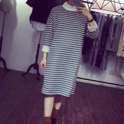 Fashion Street - Mock Neck Striped Long Sleeve Midi Dress