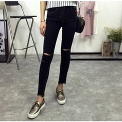 IndiGirl - Distressed Slim-Fit Jeans
