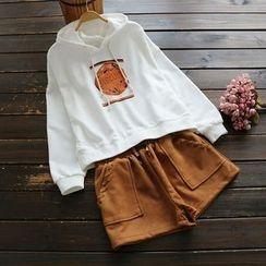 YOYO - Hooded Print Drawstring Pullover