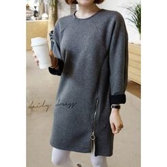 Miamasvin - Raglan-Sleeve Zip-Detail Pullover Dress