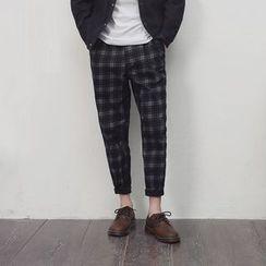 Mrlin - Check Panel Slim-Fit Pants