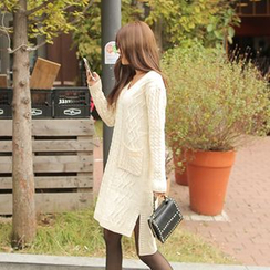 Cherryville - Lace-Up Back Cable-Knit Dress