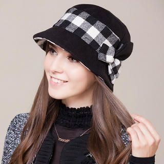 Momiton - Flower-Accent Plaid Bucket Hat