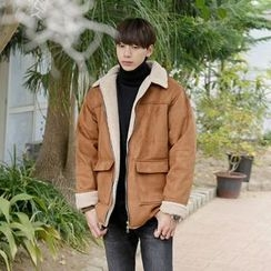 Seoul Homme - Dual-Pocket Faux-Shearling Zip-Up Jacket
