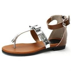 MODELSIS - Genuine Sheepskin Bow-Detail Thong Sandals