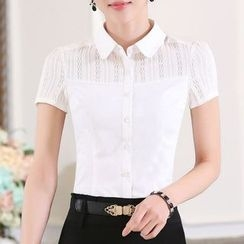 Caroe - Short-Sleeve Lace Panel Shirt