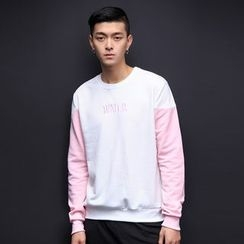 T for TOP - Long-Sleeve Color-Block Lettering Top