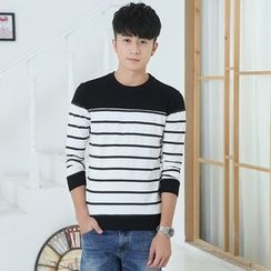 INSO - Striped Panel Long Sleeve T-Shirt